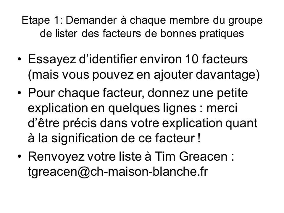 Exemples de réponse étape 1 FacteurExplication 1.