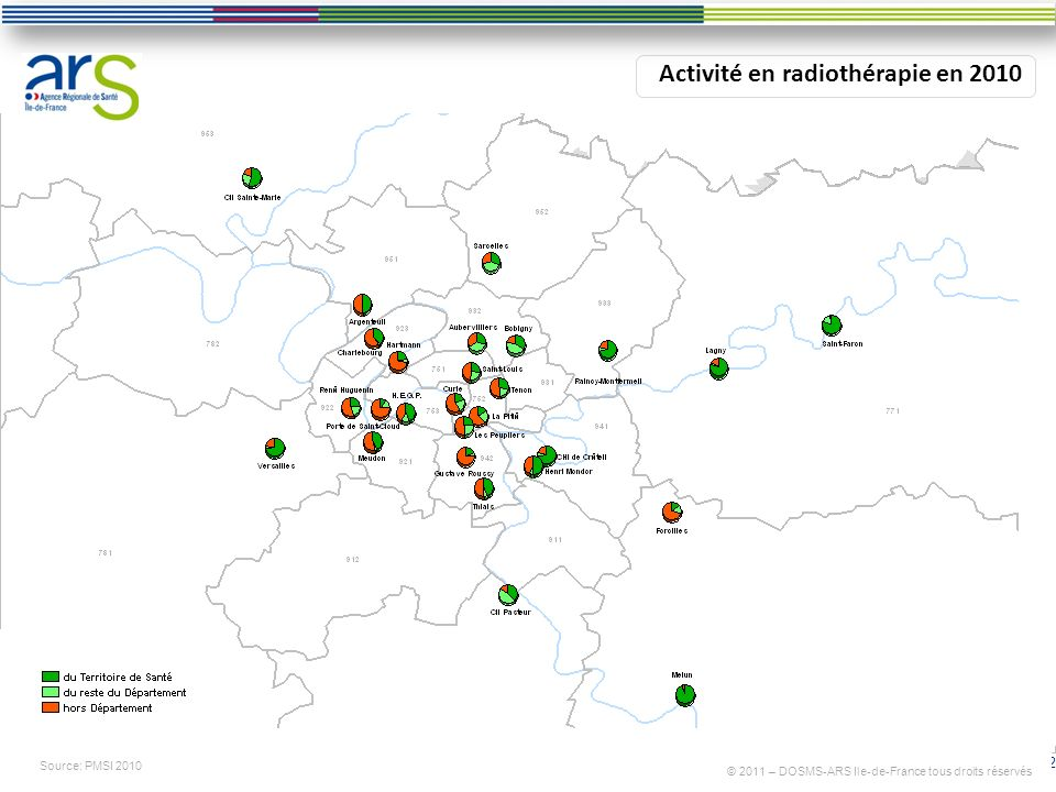 12 Activité en radiothérapie en 2010 Source: PMSI 2010 © 2011 – DOSMS-ARS Ile-de-France tous droits réservés