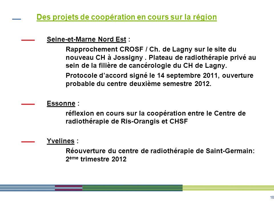 18 Des projets de coopération en cours sur la région Seine-et-Marne Nord Est : Rapprochement CROSF / Ch. de Lagny sur le site du nouveau CH à Jossigny