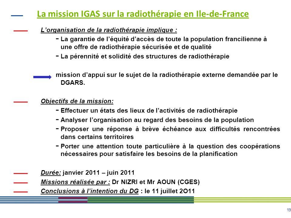 19 La mission IGAS sur la radiothérapie en Ile-de-France Lorganisation de la radiothérapie implique : - La garantie de léquité daccès de toute la popu