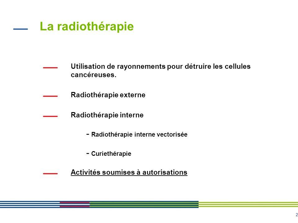 2 La radiothérapie Utilisation de rayonnements pour détruire les cellules cancéreuses. Radiothérapie externe Radiothérapie interne - Radiothérapie int