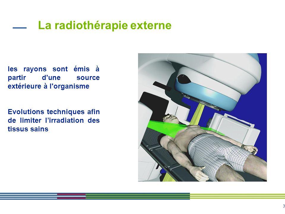 3 La radiothérapie externe les rayons sont émis à partir d'une source extérieure à l'organisme Evolutions techniques afin de limiter lirradiation des
