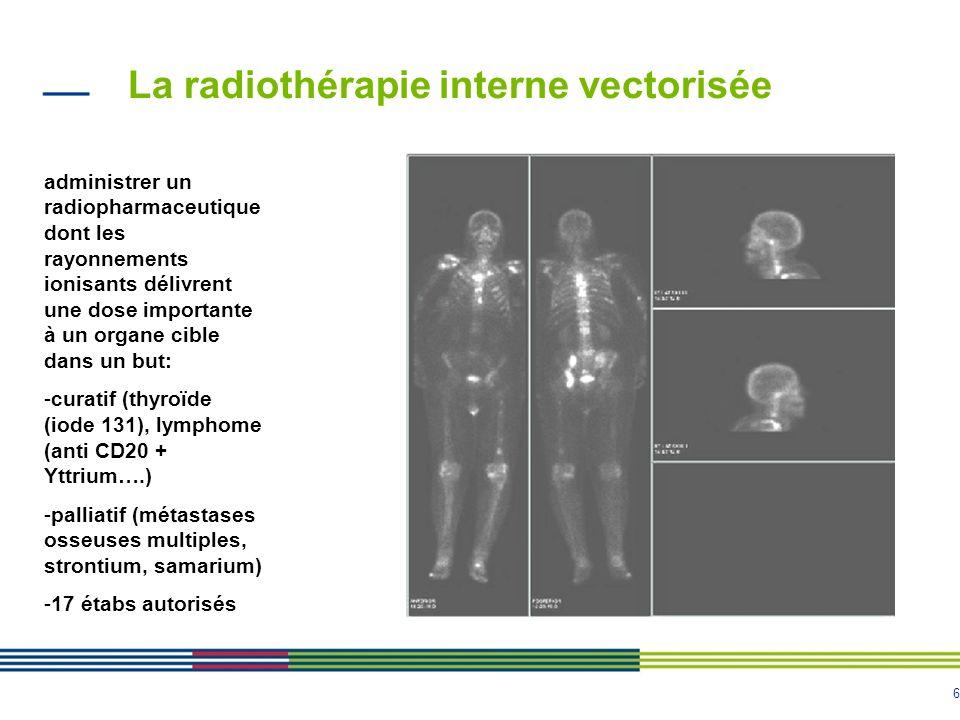 6 La radiothérapie interne vectorisée administrer un radiopharmaceutique dont les rayonnements ionisants délivrent une dose importante à un organe cib