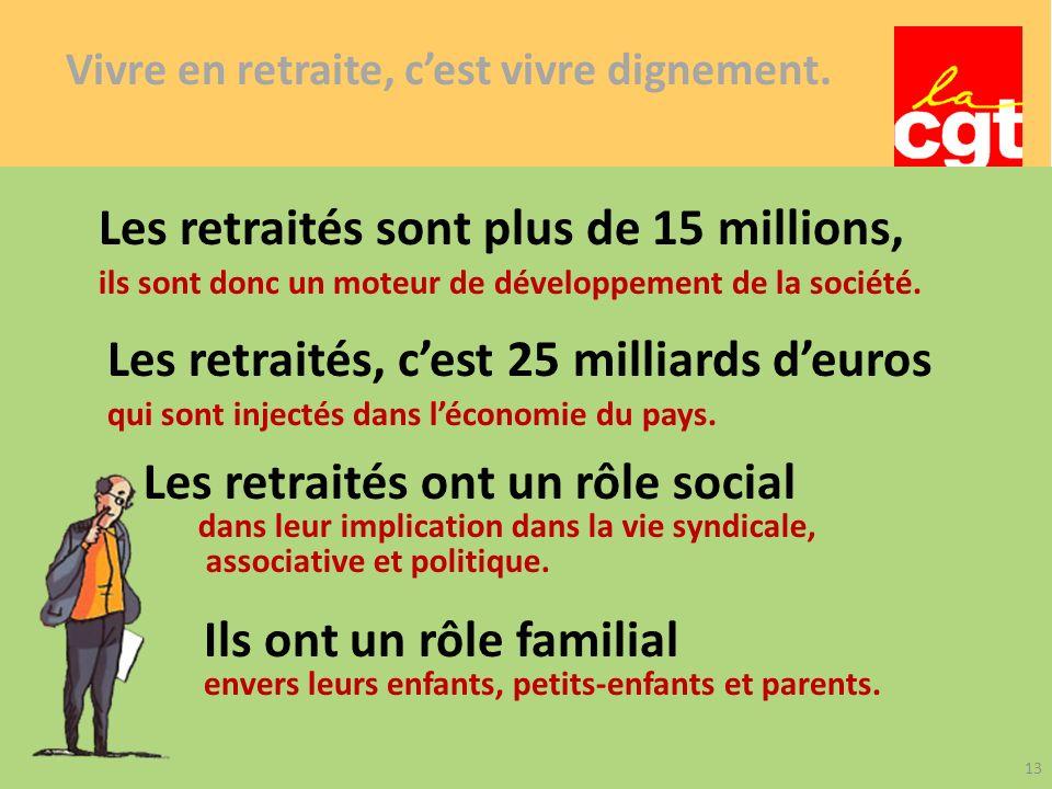 Les retraités sont plus de 15 millions, ils sont donc un moteur de développement de la société.