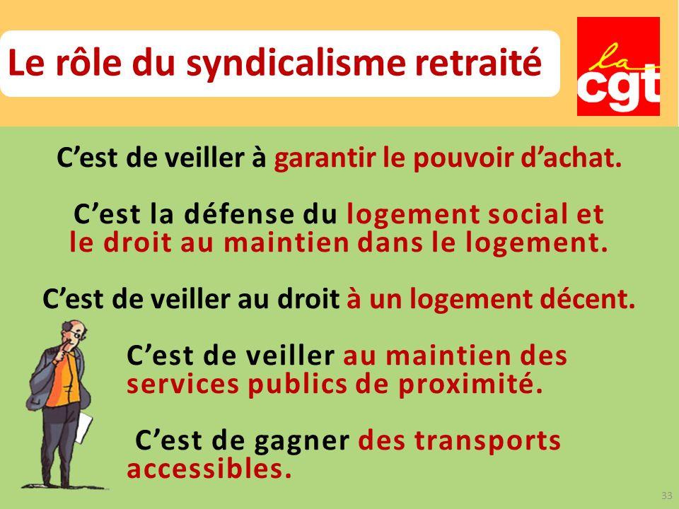 Le rôle du syndicalisme retraité Cest de veiller à garantir le pouvoir dachat.