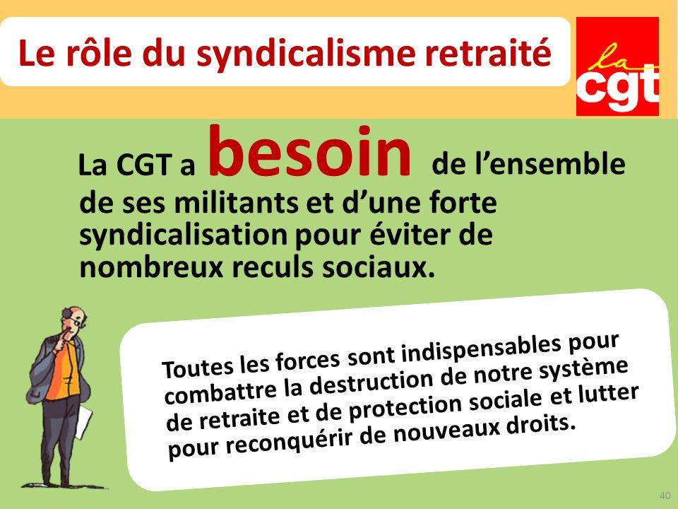 La CGT a besoin de lensemble de ses militants et dune forte syndicalisation pour éviter de nombreux reculs sociaux.