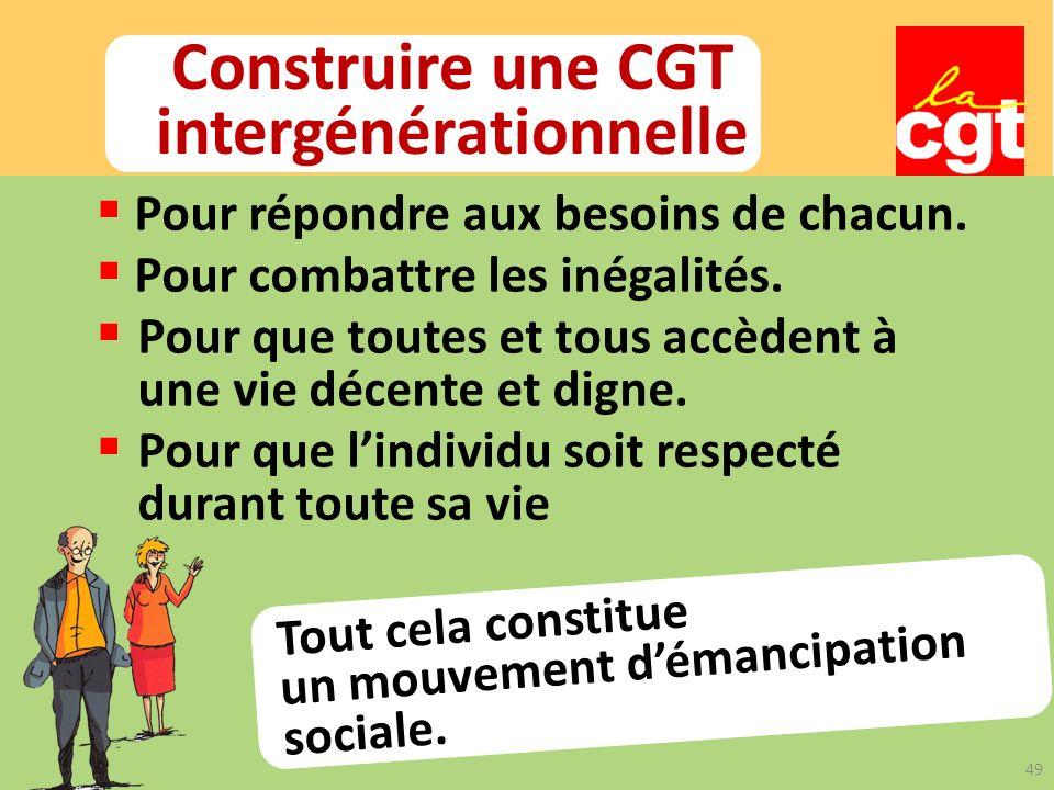 Construire une CGT intergénérationnelle Tout cela constitue un mouvement démancipation sociale.