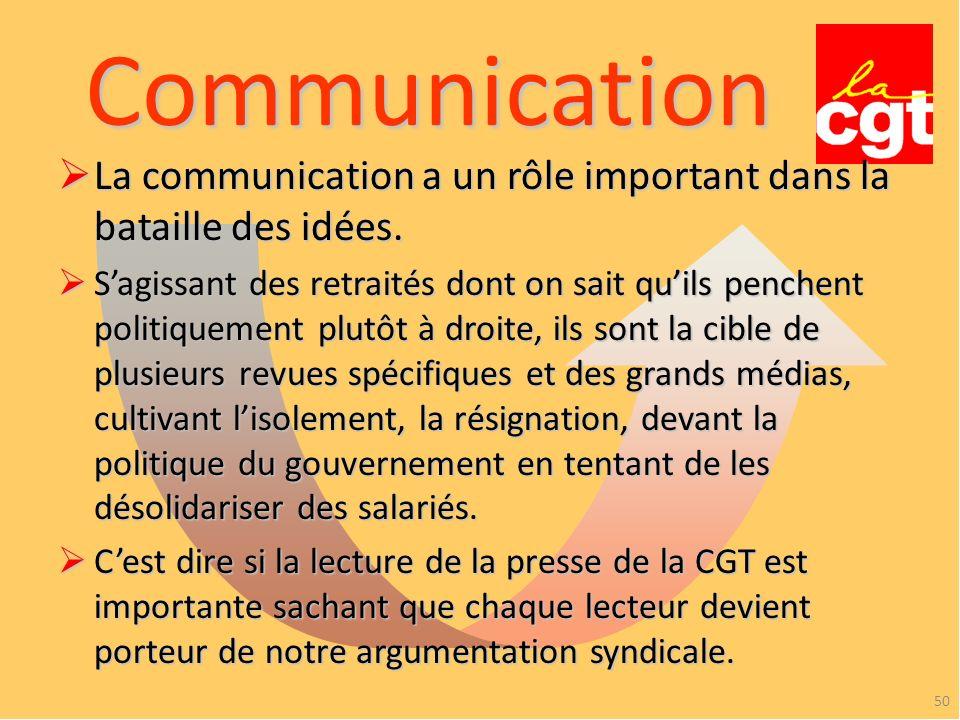 Communication 50 La communication a un rôle important dans la bataille des idées.