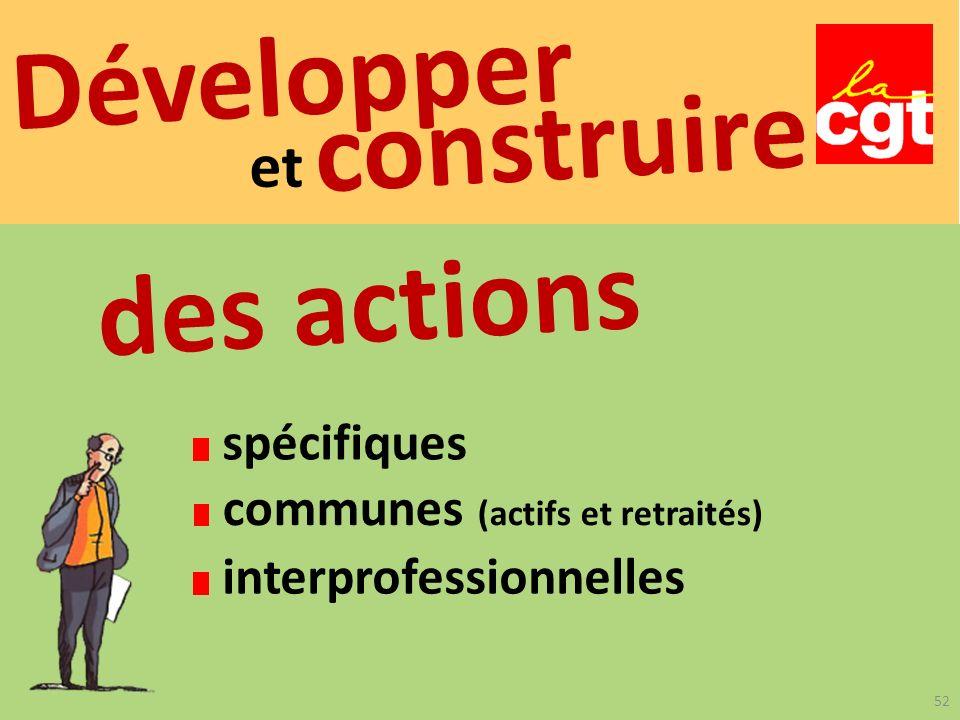 Développer et construire spécifiques communes (actifs et retraités) des actions interprofessionnelles 52