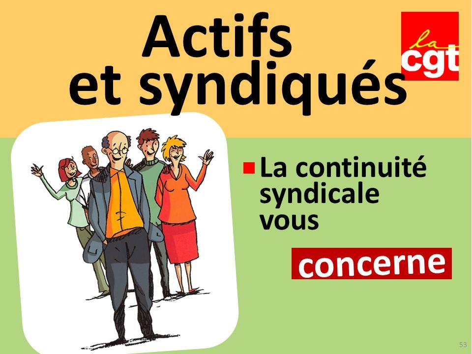Actifs et syndiqués concerne La continuité syndicale vous 53