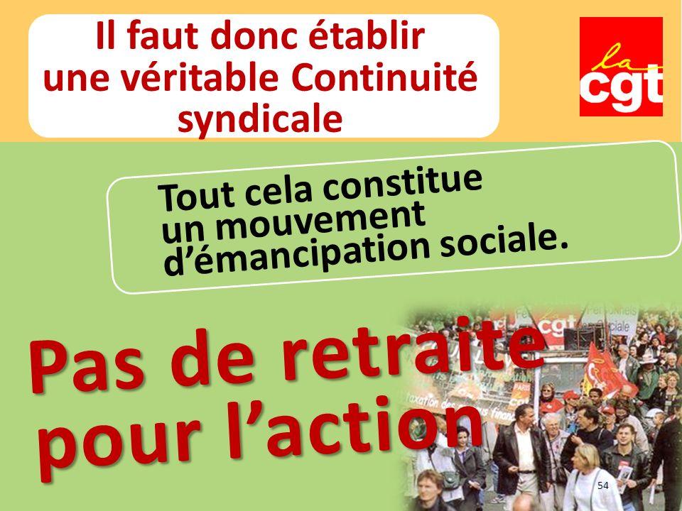 Il faut donc établir une véritable Continuité syndicale Tout cela constitue un mouvement démancipation sociale.