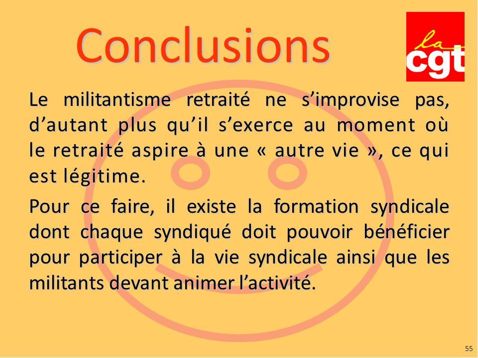 55 Conclusions Le militantisme retraité ne simprovise pas, dautant plus quil sexerce au moment où le retraité aspire à une « autre vie », ce qui est légitime.