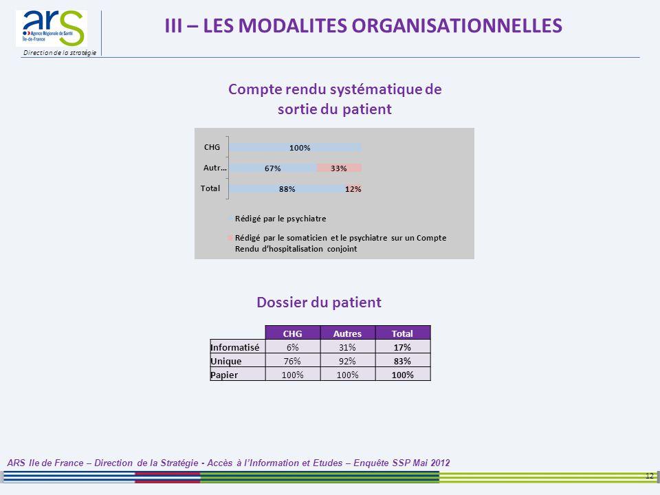 Direction de la stratégie III – LES MODALITES ORGANISATIONNELLES 12 ARS Ile de France – Direction de la Stratégie - Accès à lInformation et Etudes – E
