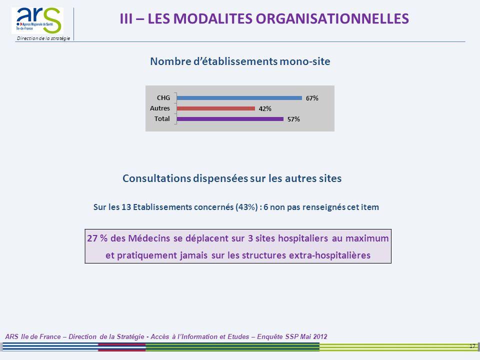 Direction de la stratégie III – LES MODALITES ORGANISATIONNELLES 17 ARS Ile de France – Direction de la Stratégie - Accès à lInformation et Etudes – E