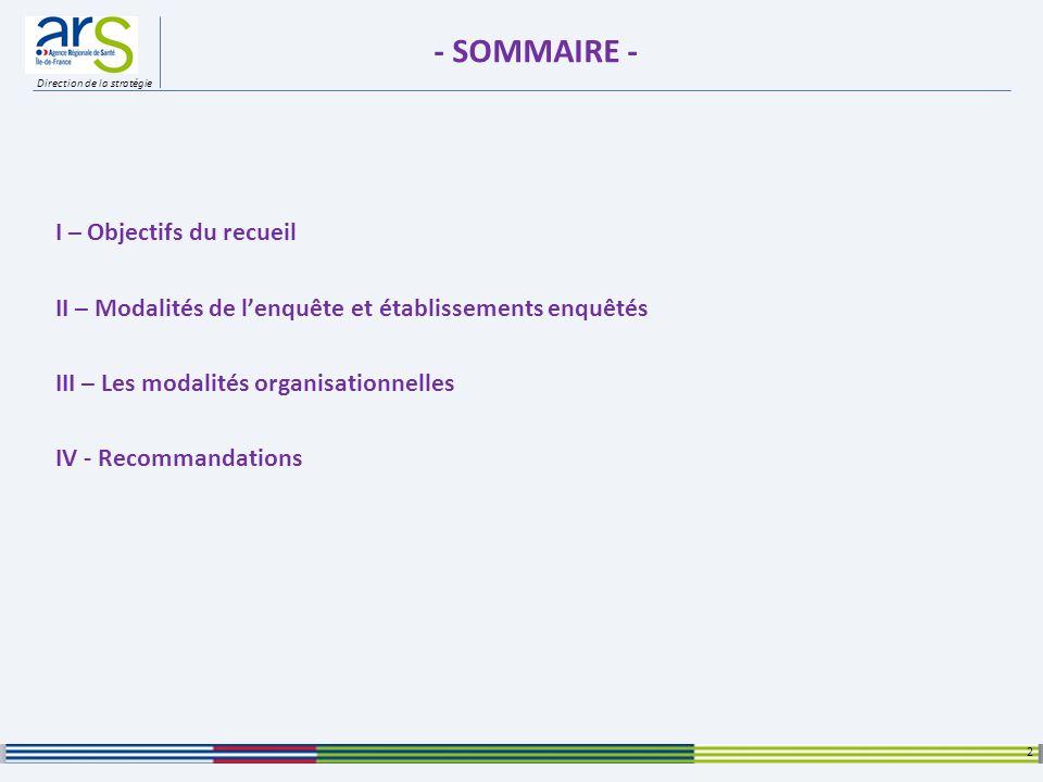 Direction de la stratégie - SOMMAIRE - I – Objectifs du recueil II – Modalités de lenquête et établissements enquêtés III – Les modalités organisation