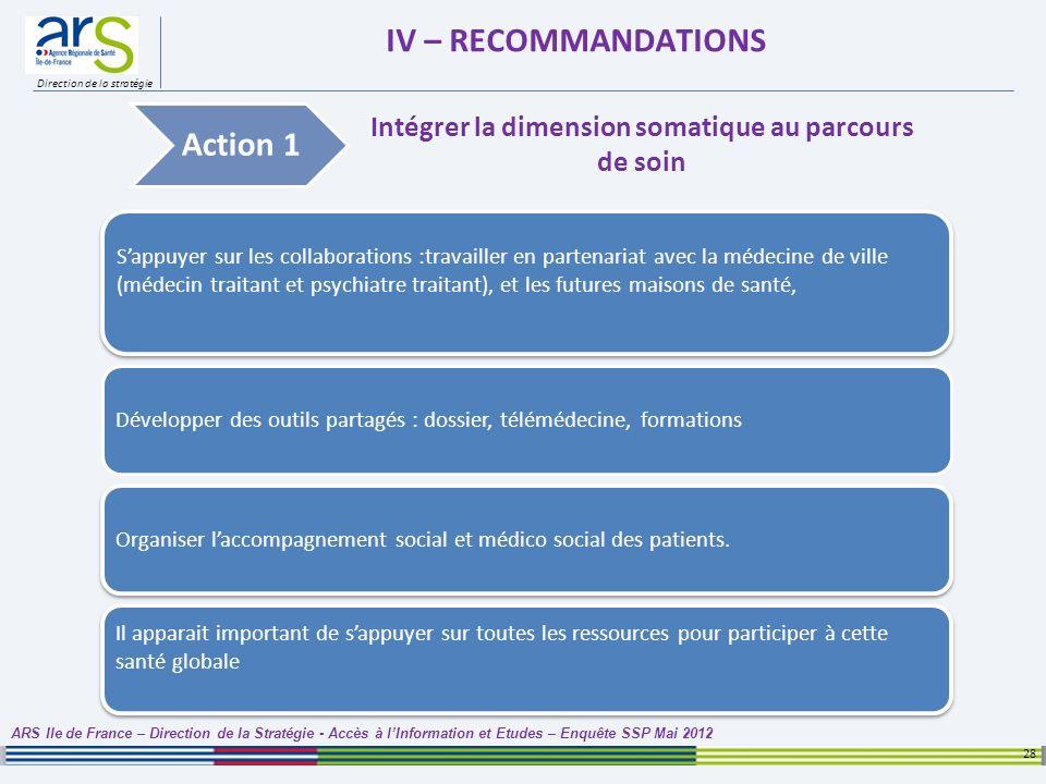 Direction de la stratégie IV – RECOMMANDATIONS 28 ARS Ile de France – Direction de la Stratégie - Accès à lInformation et Etudes – Enquête SSP Mai 201