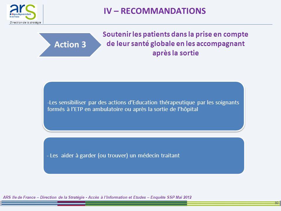 Direction de la stratégie IV – RECOMMANDATIONS 30 ARS Ile de France – Direction de la Stratégie - Accès à lInformation et Etudes – Enquête SSP Mai 201