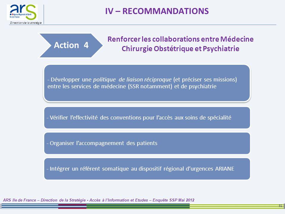 Direction de la stratégie IV – RECOMMANDATIONS 31 ARS Ile de France – Direction de la Stratégie - Accès à lInformation et Etudes – Enquête SSP Mai 201