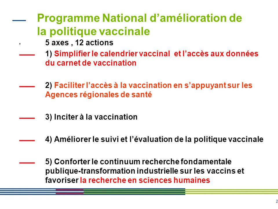 2 Programme National damélioration de la politique vaccinale 5 axes, 12 actions 1) Simplifier le calendrier vaccinal et laccès aux données du carnet de vaccination 2) Faciliter laccès à la vaccination en sappuyant sur les Agences régionales de santé 3) Inciter à la vaccination 4) Améliorer le suivi et lévaluation de la politique vaccinale 5) Conforter le continuum recherche fondamentale publique-transformation industrielle sur les vaccins et favoriser la recherche en sciences humaines