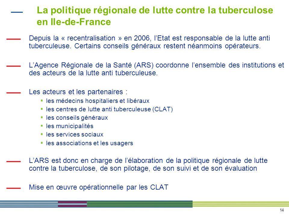 14 La politique régionale de lutte contre la tuberculose en Ile-de-France Depuis la « recentralisation » en 2006, lEtat est responsable de la lutte anti tuberculeuse.