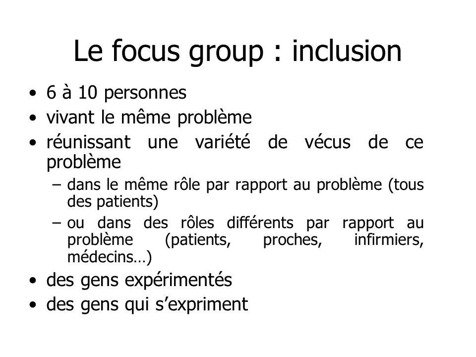 Le focus group : inclusion 6 à 10 personnes vivant le même problème réunissant une variété de vécus de ce problème –dans le même rôle par rapport au p