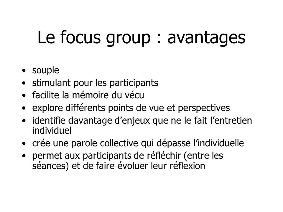 Le focus group : désavantages - culture de groupe qui empêche certains de sexprimer (individu ou sous-groupe dominants) - évitement de questions intimes ou sensibles