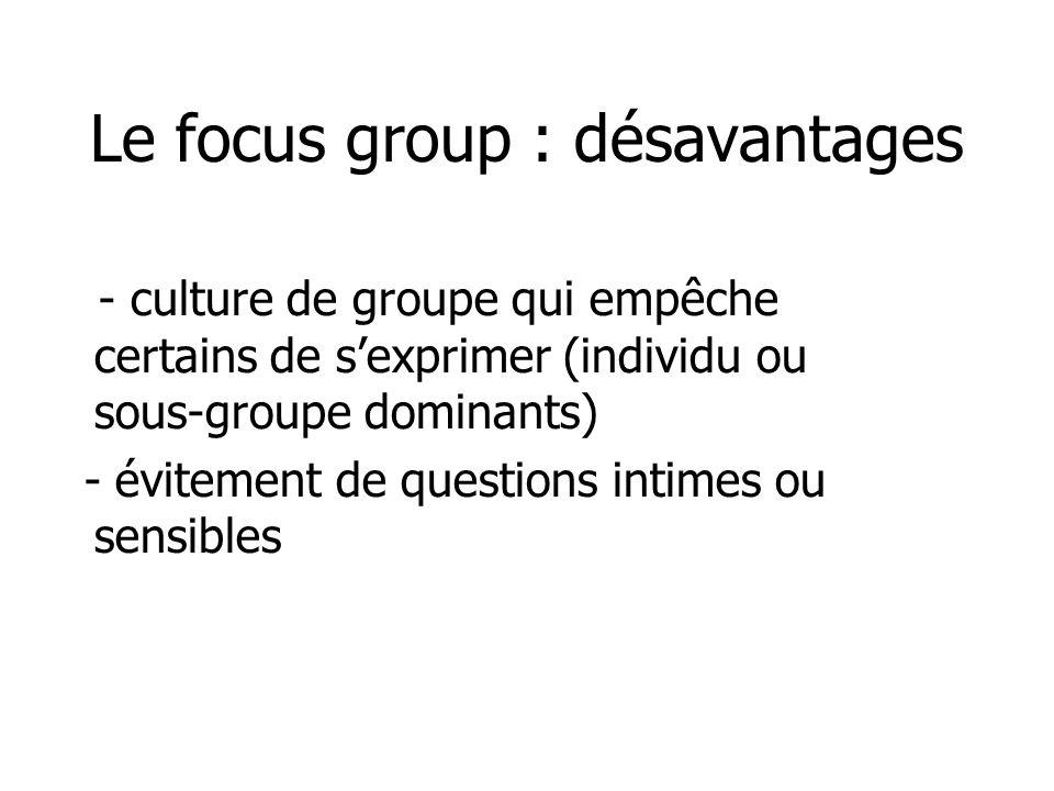 Le focus group : désavantages - culture de groupe qui empêche certains de sexprimer (individu ou sous-groupe dominants) - évitement de questions intim