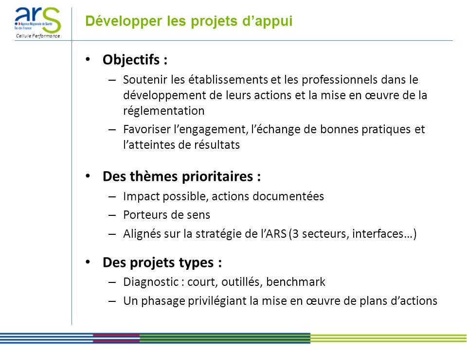 Cellule Performance Développer les projets dappui Objectifs : – Soutenir les établissements et les professionnels dans le développement de leurs actio