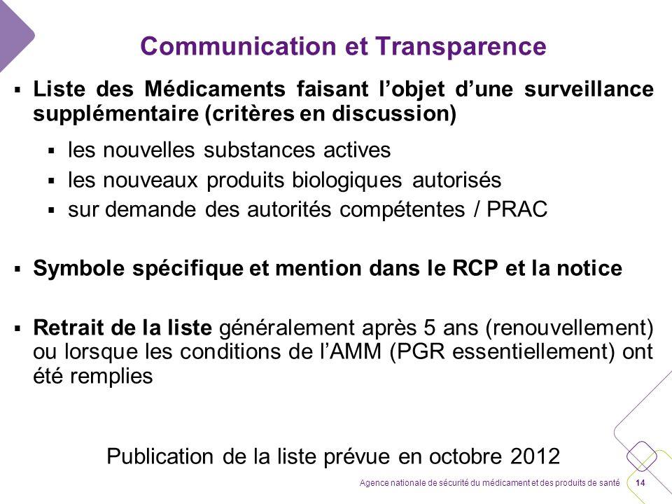 13Agence nationale de sécurité du médicament et des produits de santé Communication et Transparence Web-portal européen avec un lien vers les portails