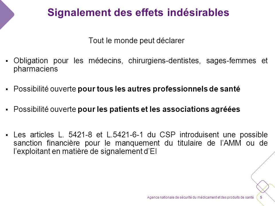 4Agence nationale de sécurité du médicament et des produits de santé Signalement des effets indésirables La déclaration des EI concerne désormais lens