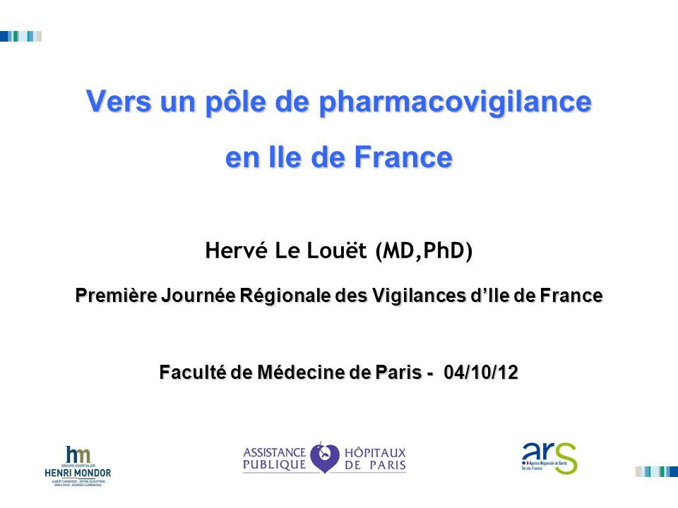 Vers un pôle de pharmacovigilance en Ile de France Hervé Le Louët (MD,PhD) Première Journée Régionale des Vigilances dIle de France Faculté de Médecin