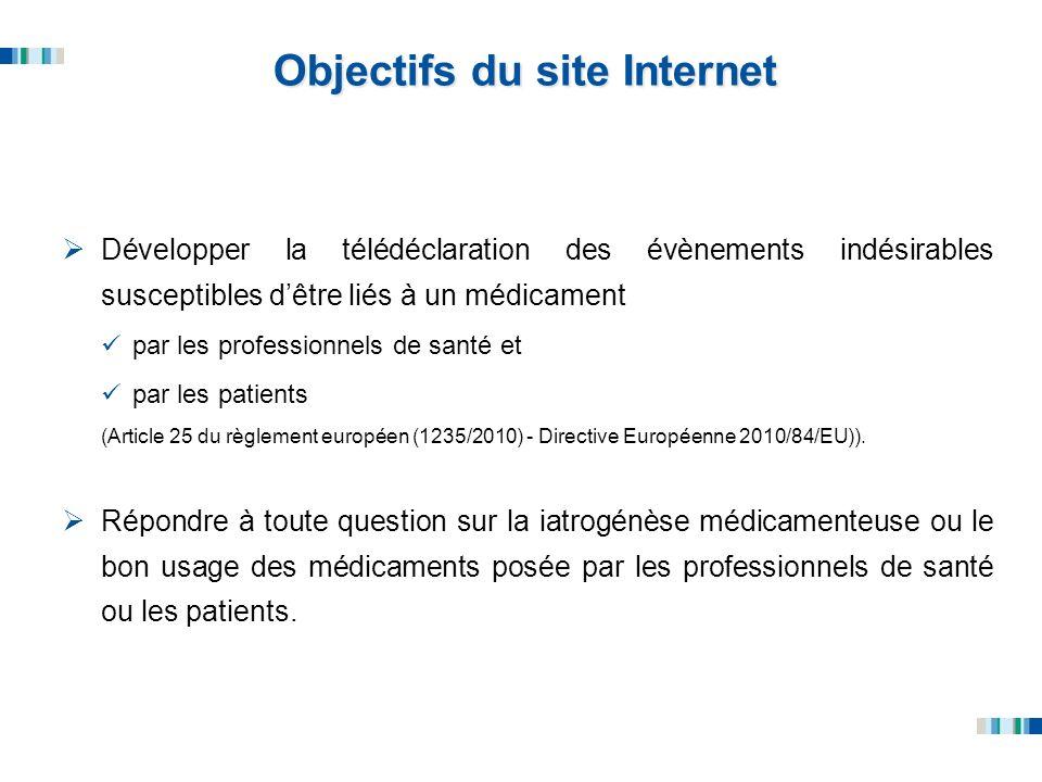 Objectifs du site Internet Développer la télédéclaration des évènements indésirables susceptibles dêtre liés à un médicament par les professionnels de
