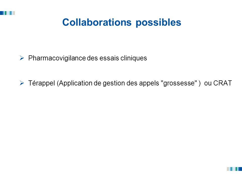Collaborations possibles Pharmacovigilance des essais cliniques Térappel (Application de gestion des appels