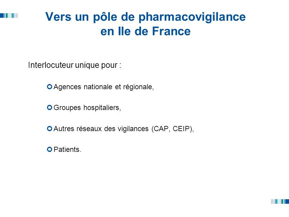 Vers un pôle de pharmacovigilance en Ile de France Interlocuteur unique pour : Agences nationale et régionale, Groupes hospitaliers, Autres réseaux de