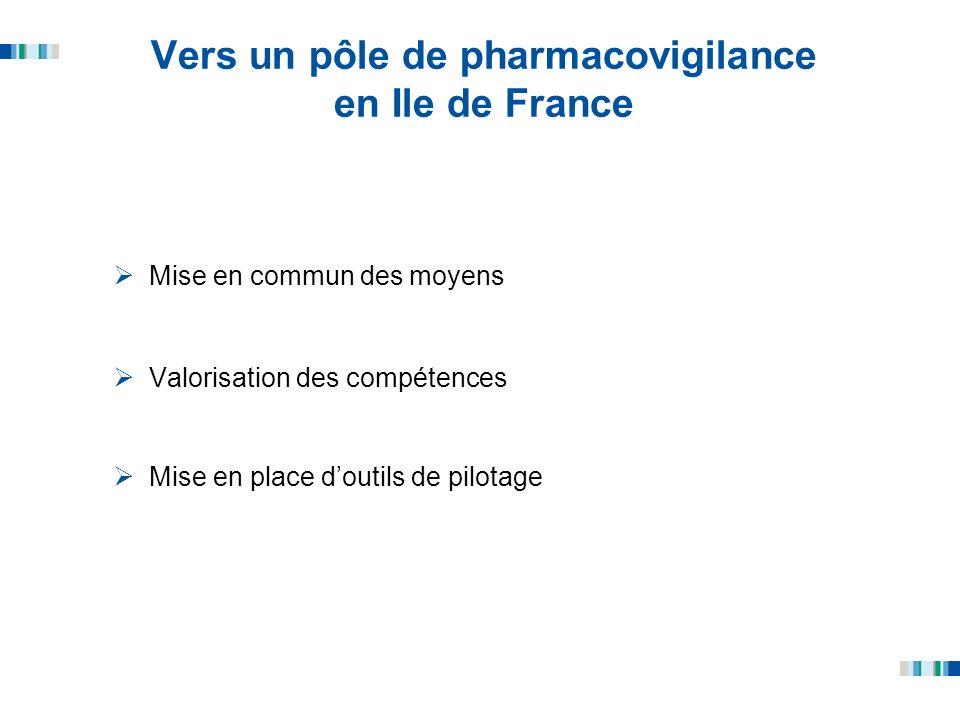 Vers un pôle de pharmacovigilance en Ile de France Mise en commun des moyens Valorisation des compétences Mise en place doutils de pilotage