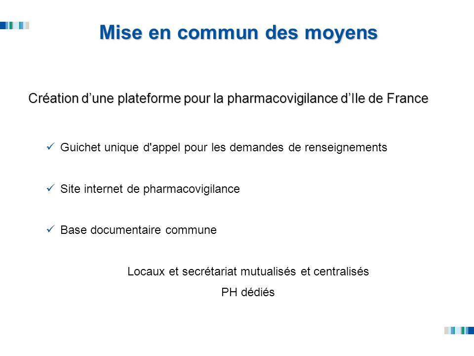 Mise en commun des moyens Création dune plateforme pour la pharmacovigilance dIle de France Guichet unique d'appel pour les demandes de renseignements