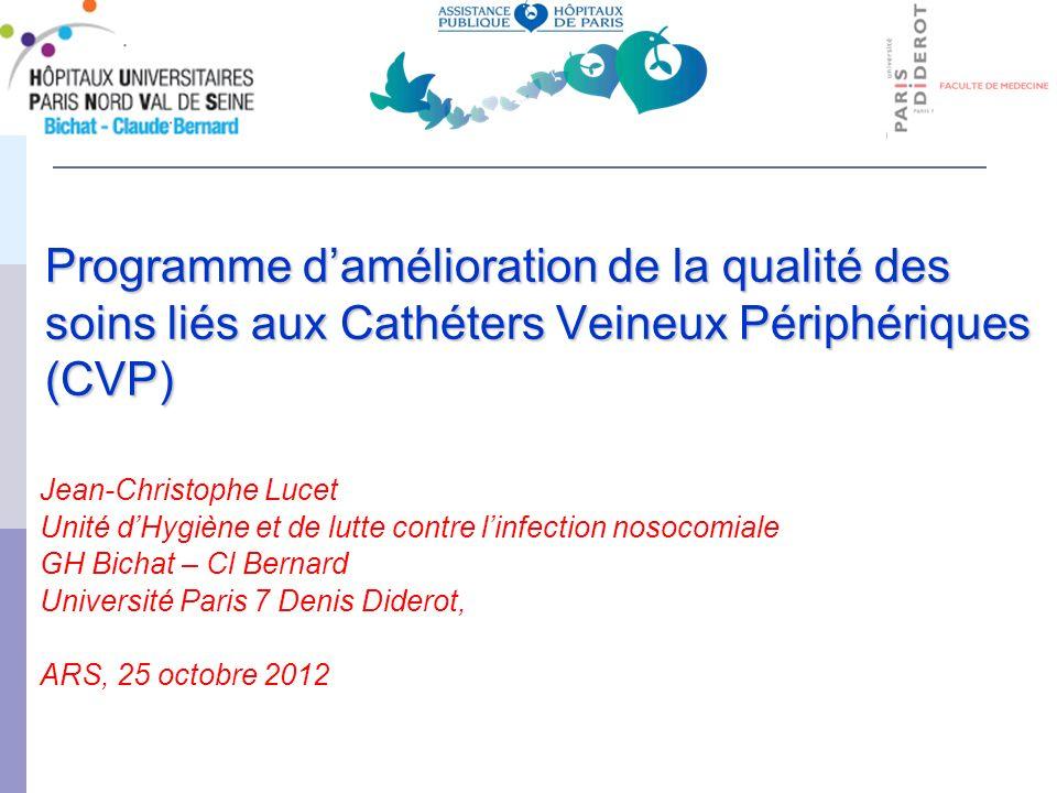 Programme damélioration de la qualité des soins liés aux Cathéters Veineux Périphériques (CVP) Jean-Christophe Lucet Unité dHygiène et de lutte contre