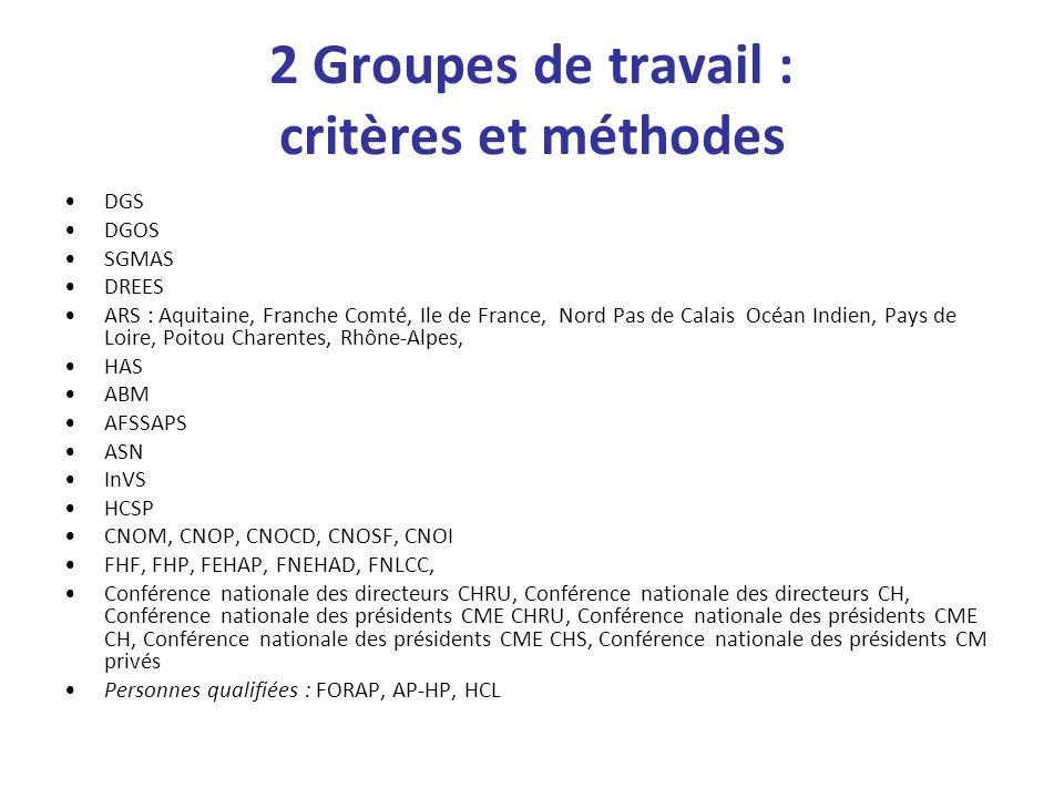 2 Groupes de travail : critères et méthodes DGS DGOS SGMAS DREES ARS : Aquitaine, Franche Comté, Ile de France, Nord Pas de Calais Océan Indien, Pays