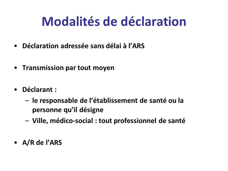 Modalités de déclaration Déclaration adressée sans délai à lARS Transmission par tout moyen Déclarant : –le responsable de létablissement de santé ou
