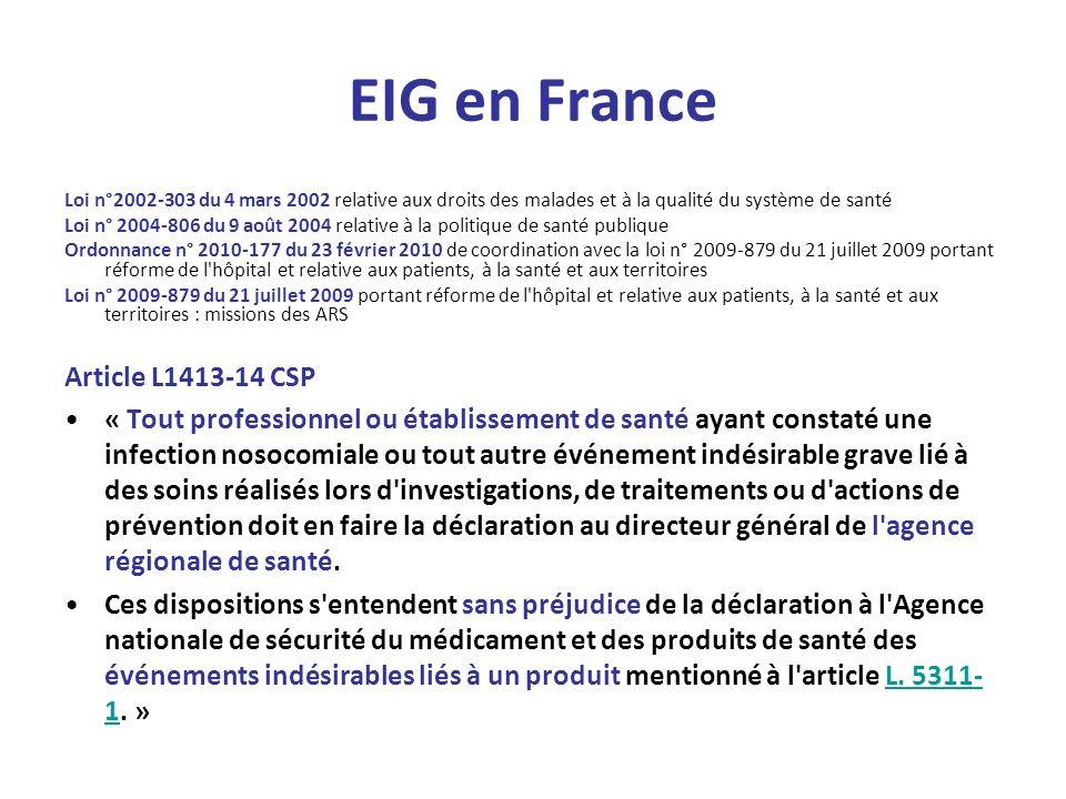 EIG en France Loi n°2002-303 du 4 mars 2002 relative aux droits des malades et à la qualité du système de santé Loi n° 2004-806 du 9 août 2004 relativ