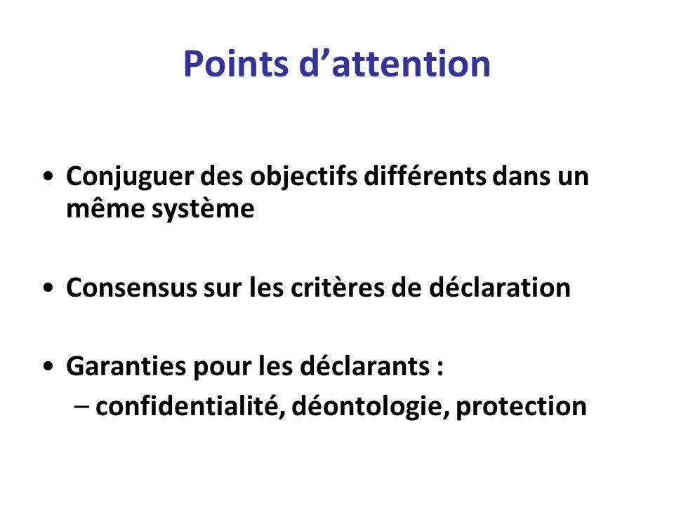 Points dattention Conjuguer des objectifs différents dans un même système Consensus sur les critères de déclaration Garanties pour les déclarants : –c