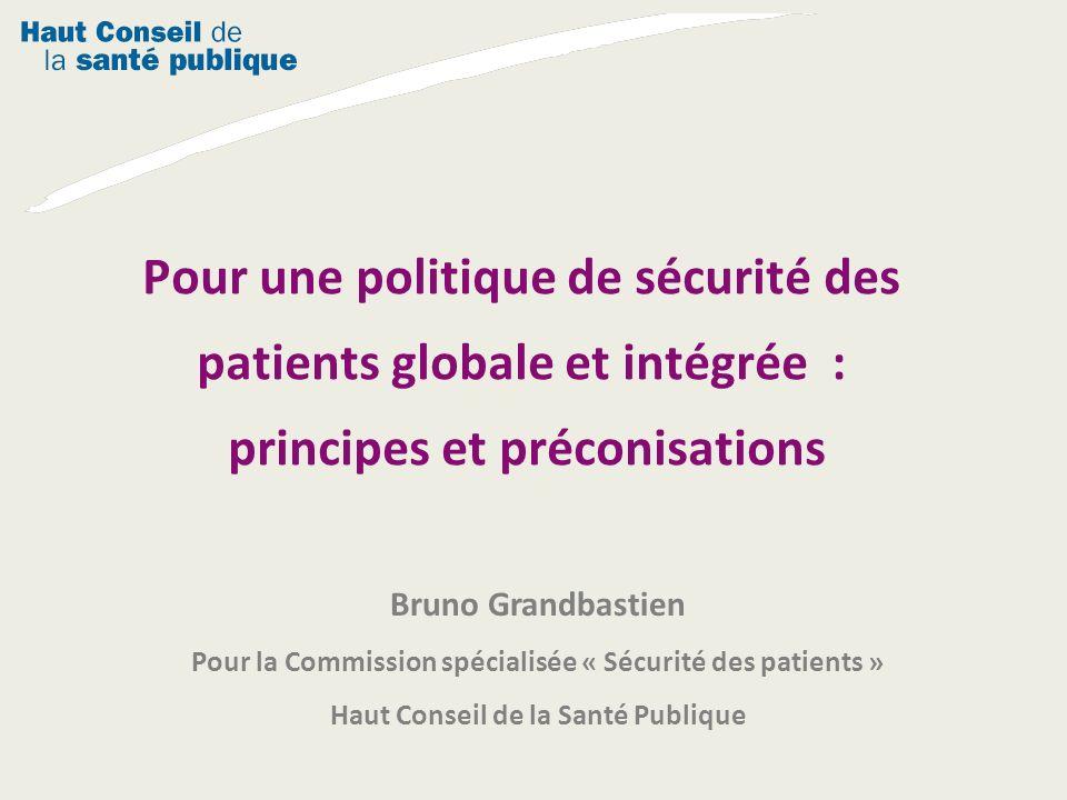 Bruno Grandbastien Pour la Commission spécialisée « Sécurité des patients » Haut Conseil de la Santé Publique Pour une politique de sécurité des patie