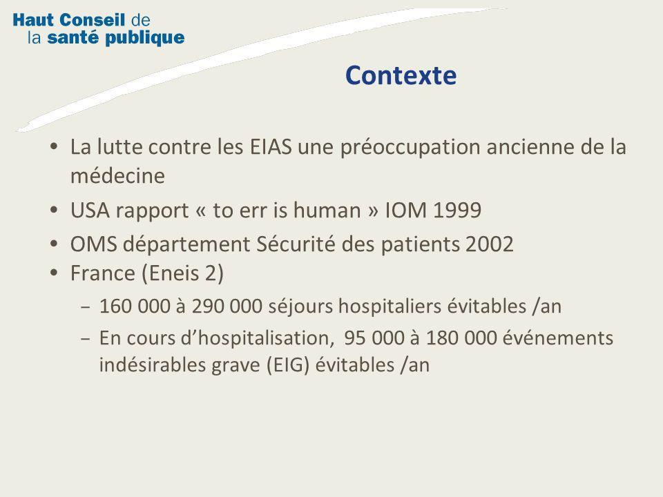 La lutte contre les EIAS une préoccupation ancienne de la médecine USA rapport « to err is human » IOM 1999 OMS département Sécurité des patients 2002