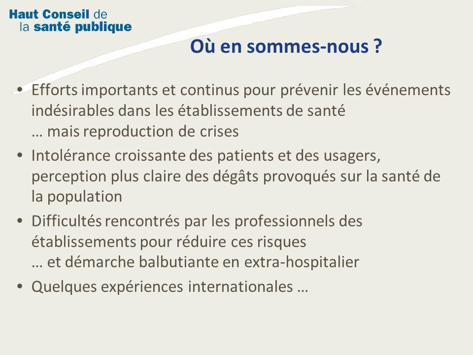 Où en sommes-nous ? Efforts importants et continus pour prévenir les événements indésirables dans les établissements de santé … mais reproduction de c