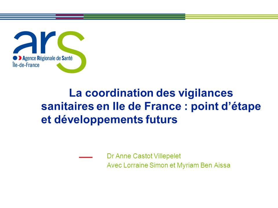 La coordination des vigilances sanitaires en Ile de France : point détape et développements futurs Dr Anne Castot Villepelet Avec Lorraine Simon et My