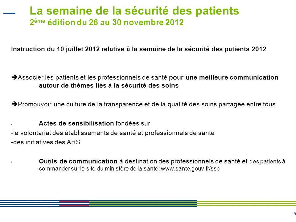 15 La semaine de la sécurité des patients 2 ème édition du 26 au 30 novembre 2012 Instruction du 10 juillet 2012 relative à la semaine de la sécurité