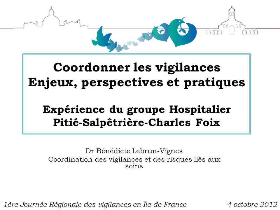 Coordonner les vigilances Enjeux, perspectives et pratiques Expérience du groupe Hospitalier Pitié-Salpêtrière-Charles Foix Dr Bénédicte Lebrun-Vignes
