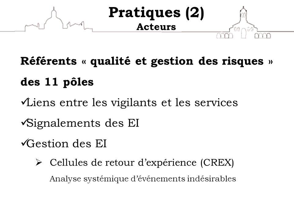 Pratiques (2) Acteurs Référents « qualité et gestion des risques » des 11 pôles Liens entre les vigilants et les services Signalements des EI Gestion