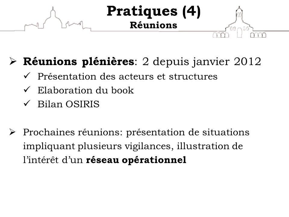 Pratiques (4) Réunions Réunions plénières : 2 depuis janvier 2012 Présentation des acteurs et structures Elaboration du book Bilan OSIRIS Prochaines r