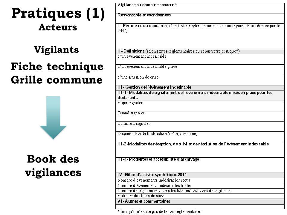 Pratiques (1) Acteurs Fiche technique Grille commune Book des vigilances Vigilants